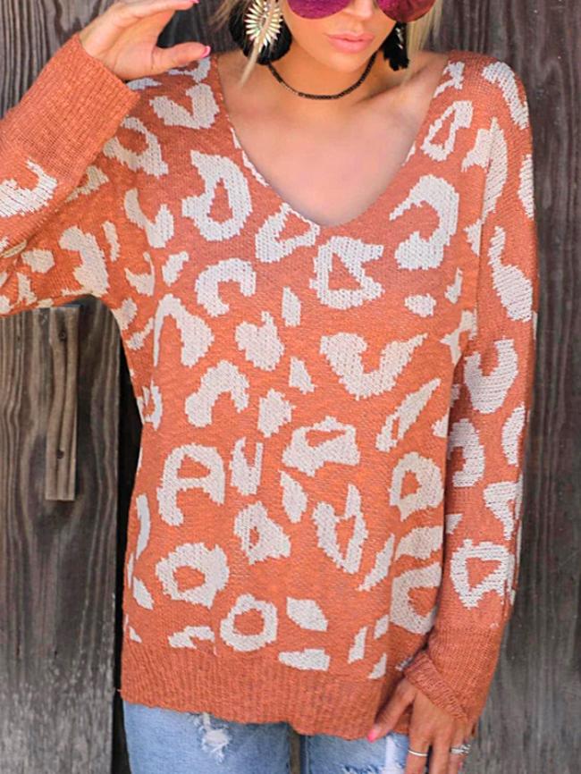 Leopard Print V-neck Knit Sweater