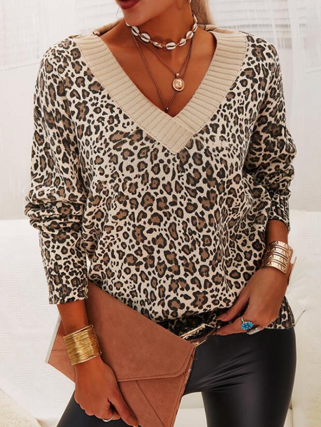 Leopard Stitching Printed V-neck Sweater