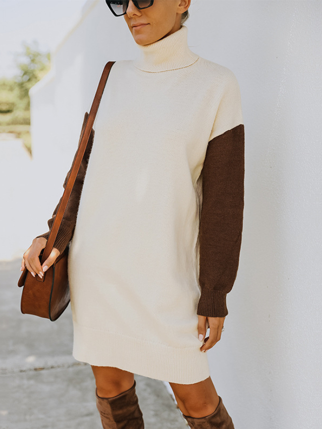 Patchwork Turtleneck Sweater Dress