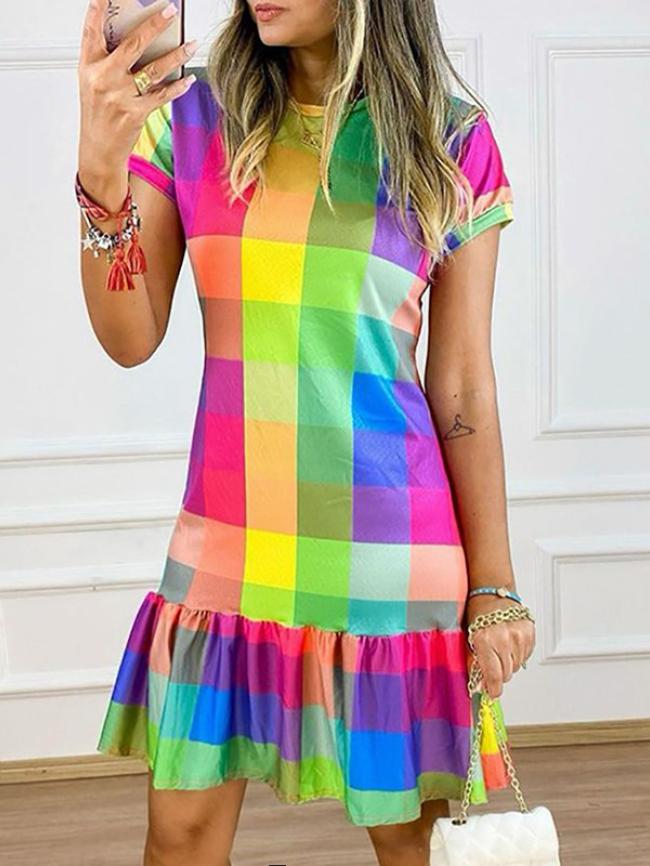 Plaid Contrast Print Ruffle Hem Dress