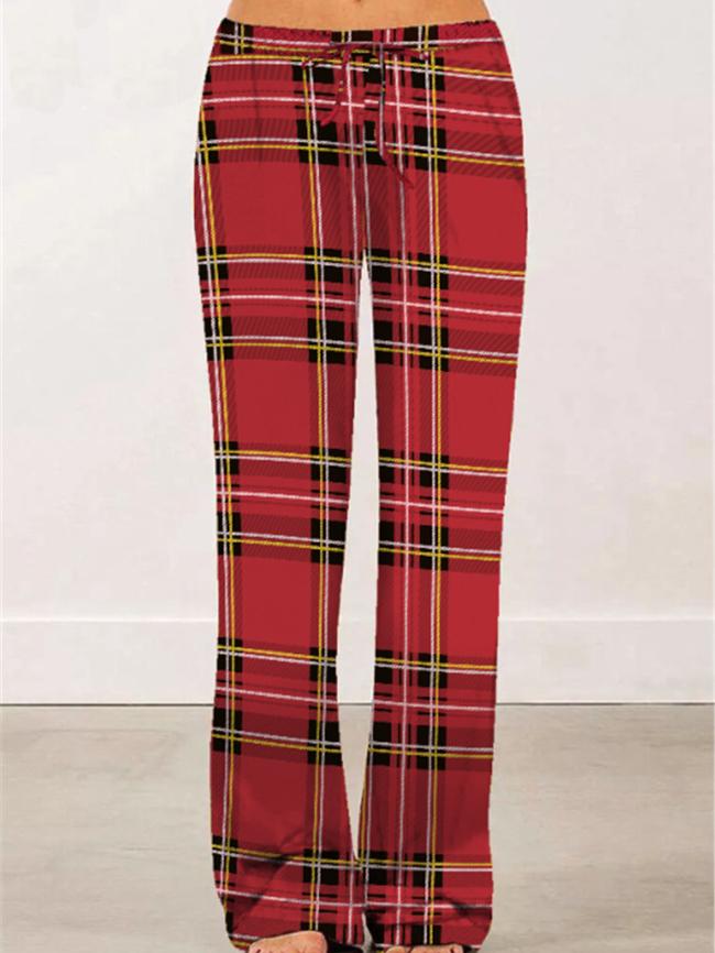 Plaid Leopard Print Wide-Leg Pants