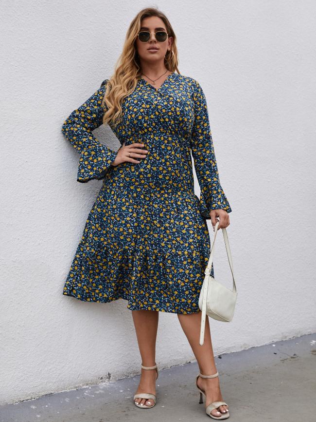 Plus V-neck Floral Print Dress