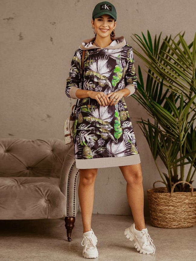 Printed Contrasting Sweatshirt Hooded Dress