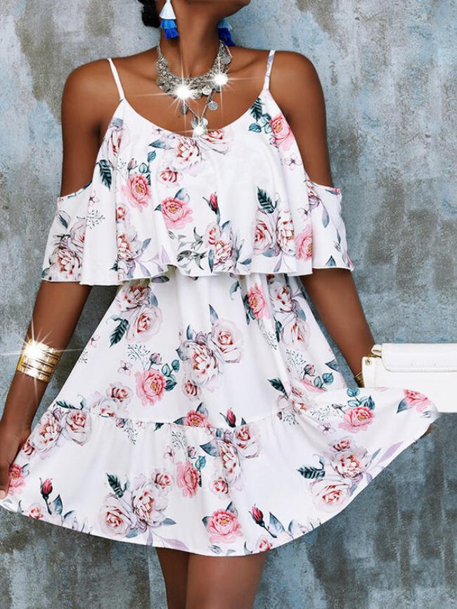 Printed Off-the-shoulder Cami Dress