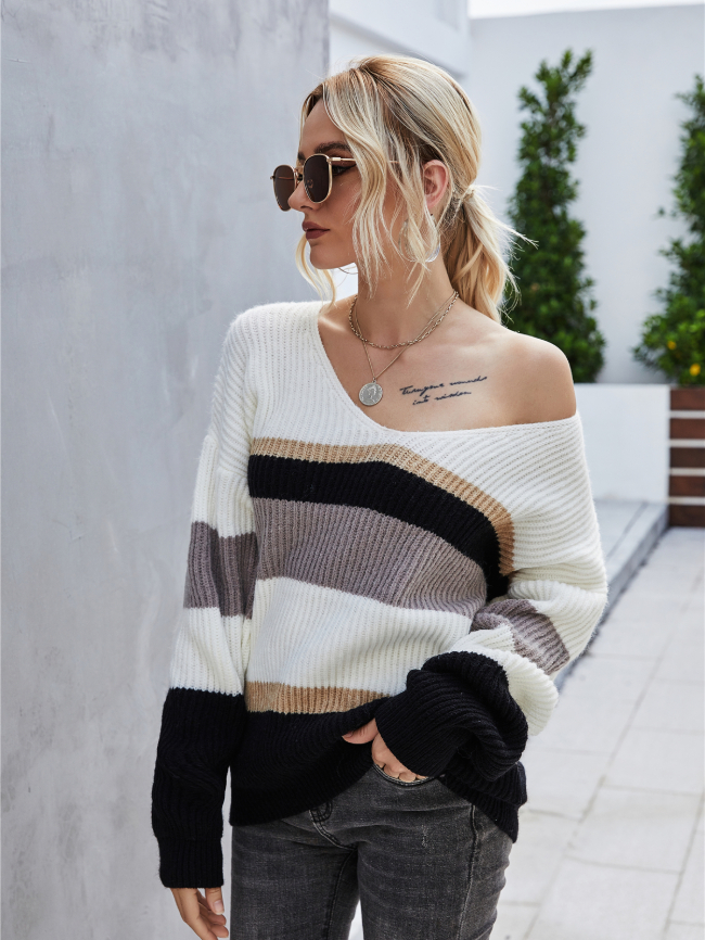 Pullover Stitching V-neck Sweater