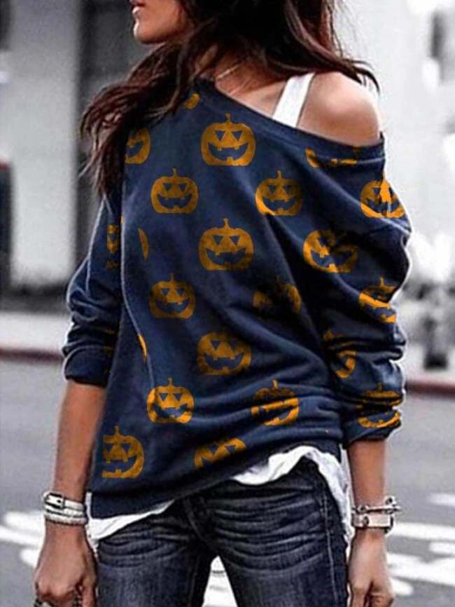 Pumpkin Print Pullover Sweatshirt