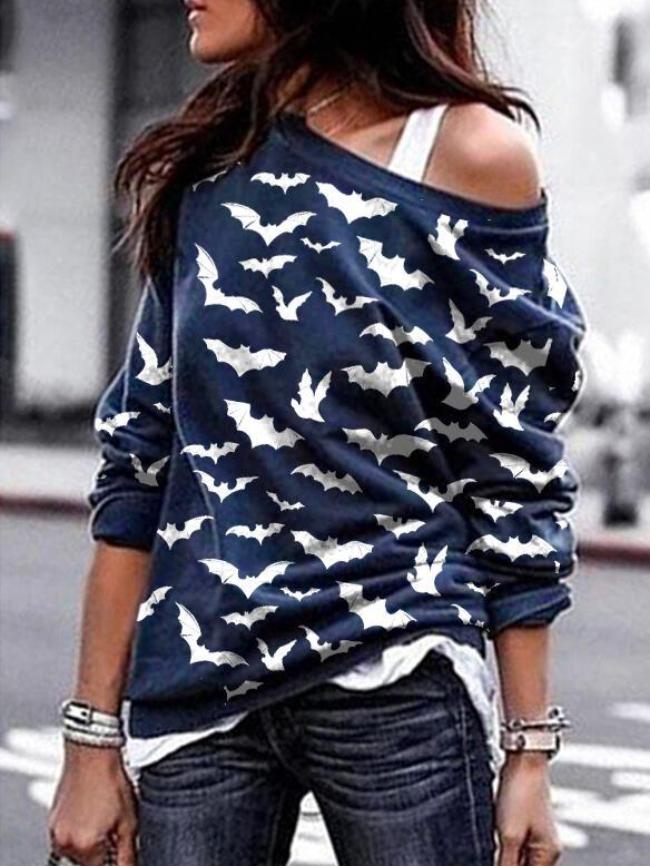 Drop Shoulder Print Pullover Sweatshirt
