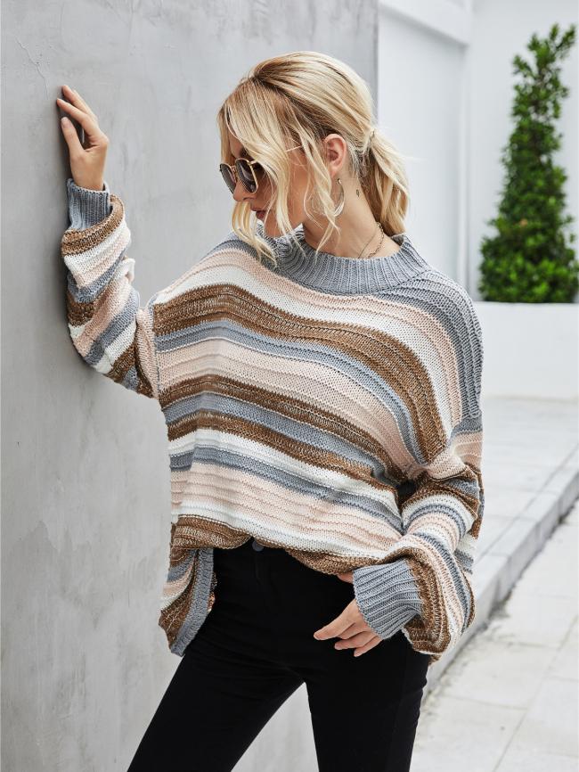 Ribbed Knit Stitching Sweater