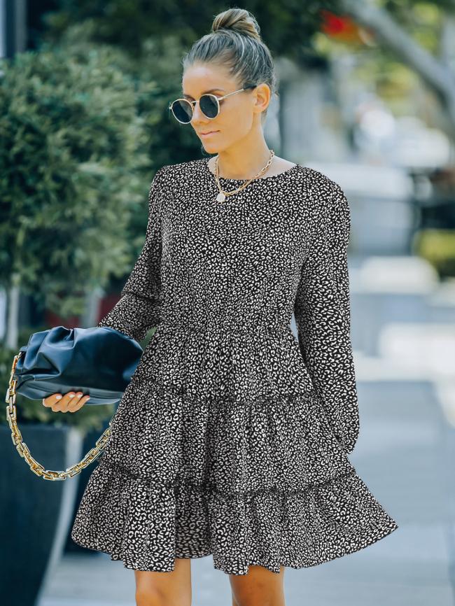 Ruffle Hem Allover Print Dress