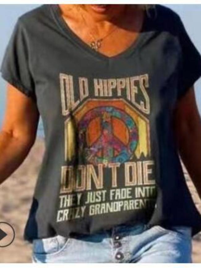 Graphic Print V-neck T-shirt