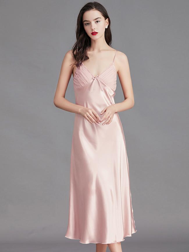 Satin Contrast Lace Split Pajama Cami Nightdress