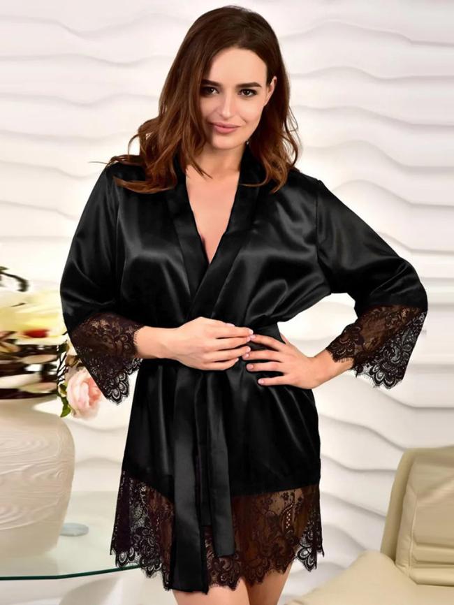 Satin Kimono Robe Pajama with Lace Trims