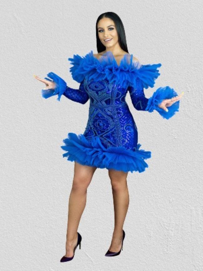 Sequin Stitching Lace Off-shoulder Dress