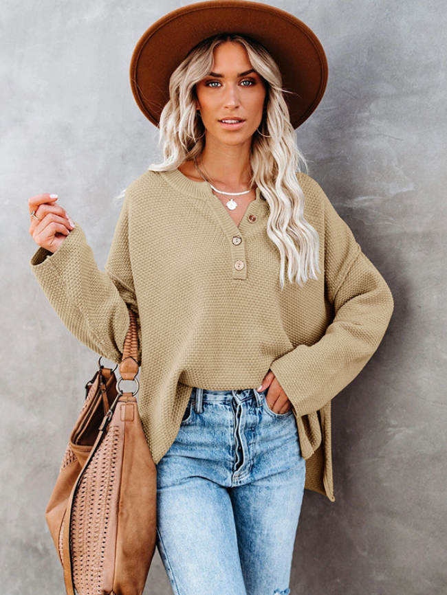 Solid Botton Half Knitted Sweater