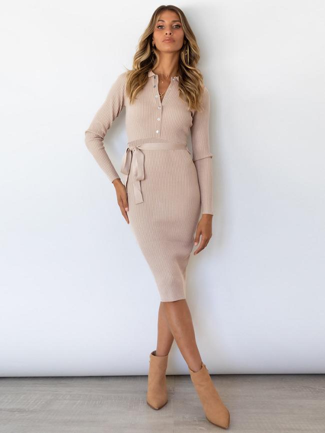Solid Botton Half Lace-up Knit Dress