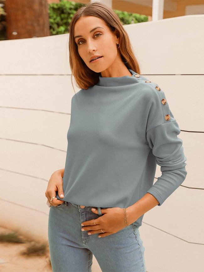 Solid Botton Shoulder Sweater