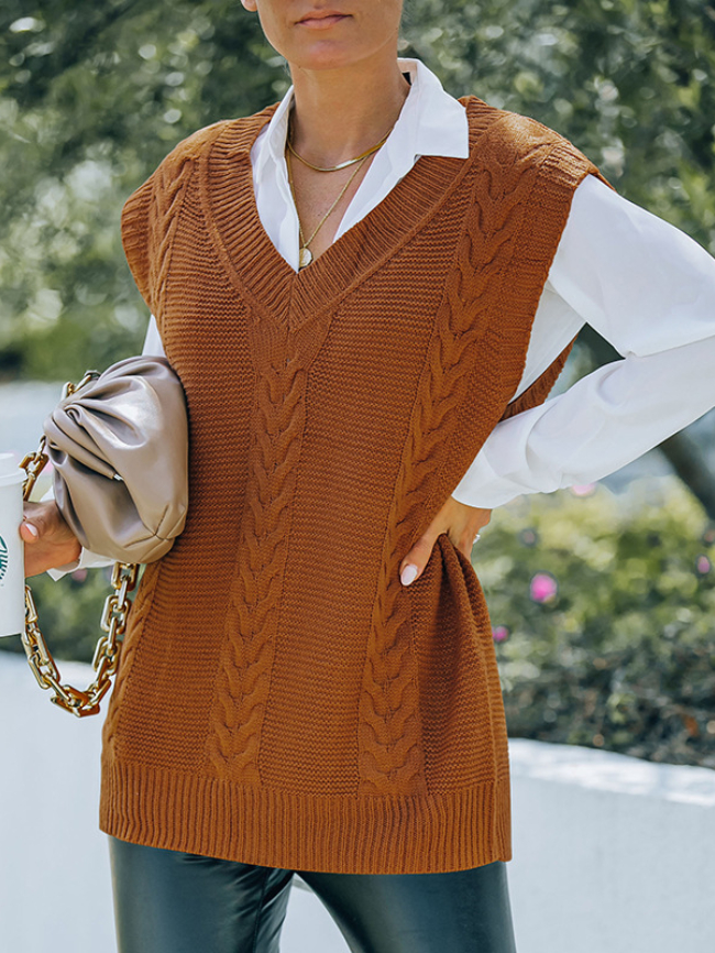 Solid Cable Knitted Sweater Vest