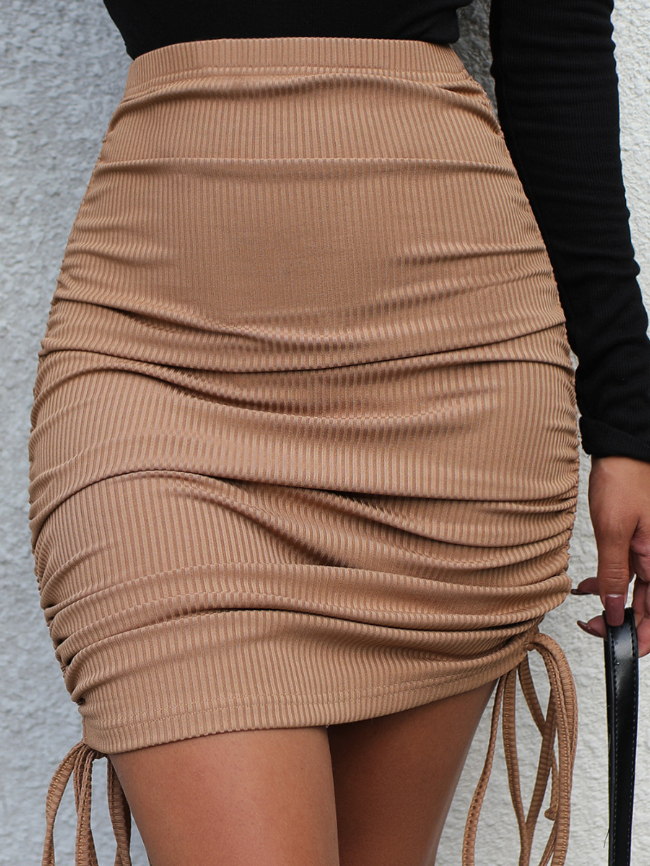 Solid Drawstring Side Knit Skirt