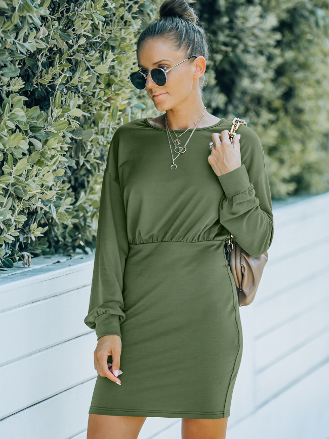 Solid Front Ruched Bodycon Dress