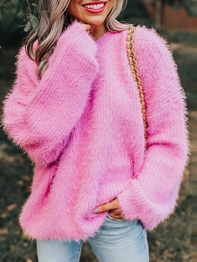 Solid Fuzzy Drop Shoulder Knit Sweater