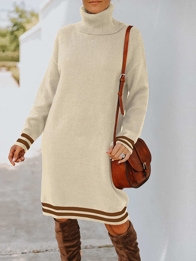 Solid High Neck Knit Sweater Dress