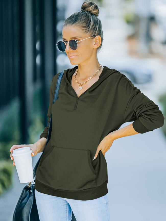 Solid Kangaroo Pocket Hooded Sweatshirt