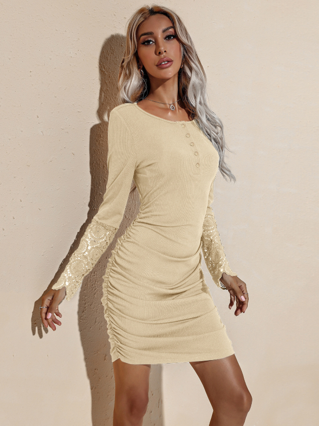 Solid Lace Dleeve Bodycon Dress