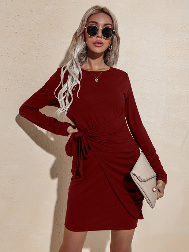 Solid Lace-up Bodycon Dress