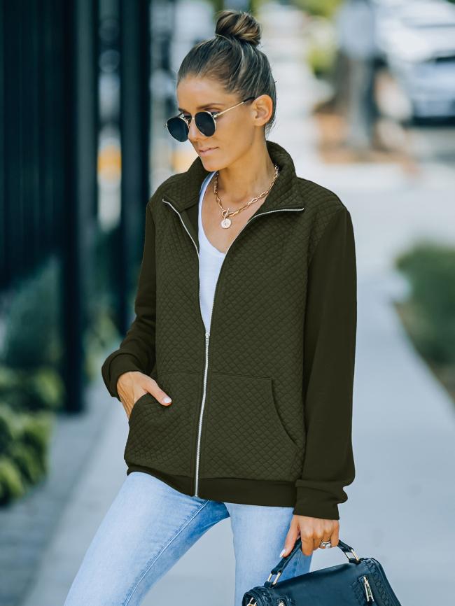 Solid Lapel Plaid Zipper Jacket