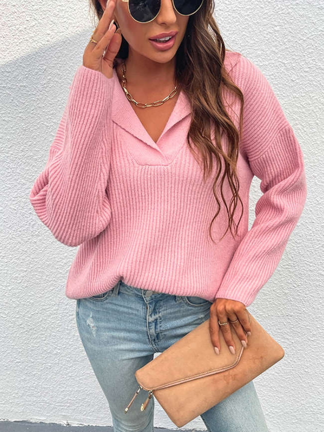 Solid Lapel Pullover Knitted Sweater
