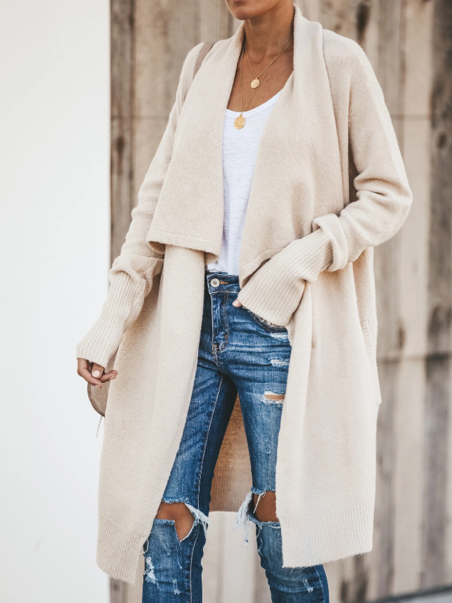 Solid Open Front Knitted Cardigan