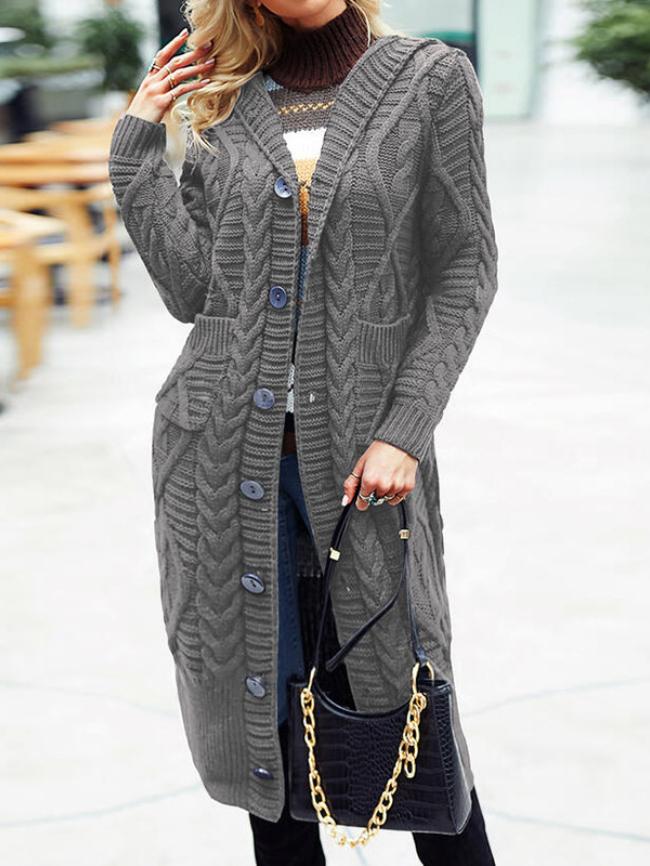 Solid Open Front Pocket Overcoat Cardigan