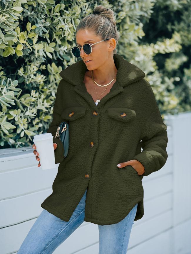 Solid Pocket Hooded Teddy Coat