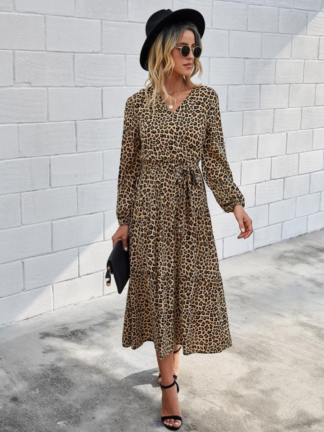 Solid Leopard Lace Up Blouse