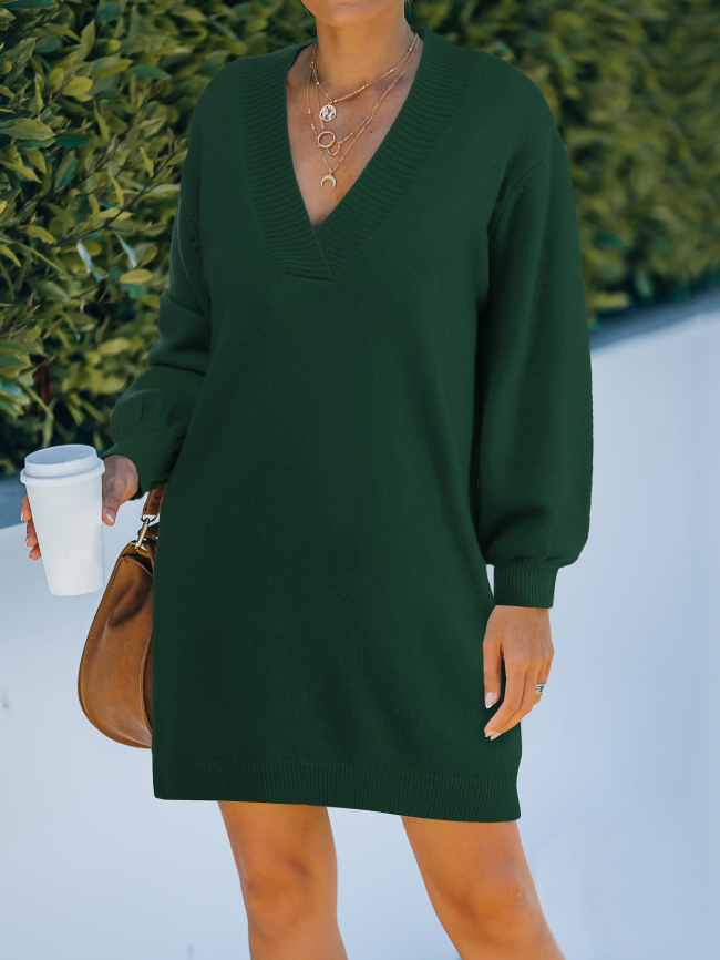 Solid Surplice Neck Knitted Dress