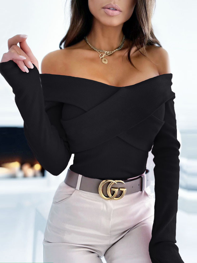 Solid V-neck Cross Knit Top Sweater