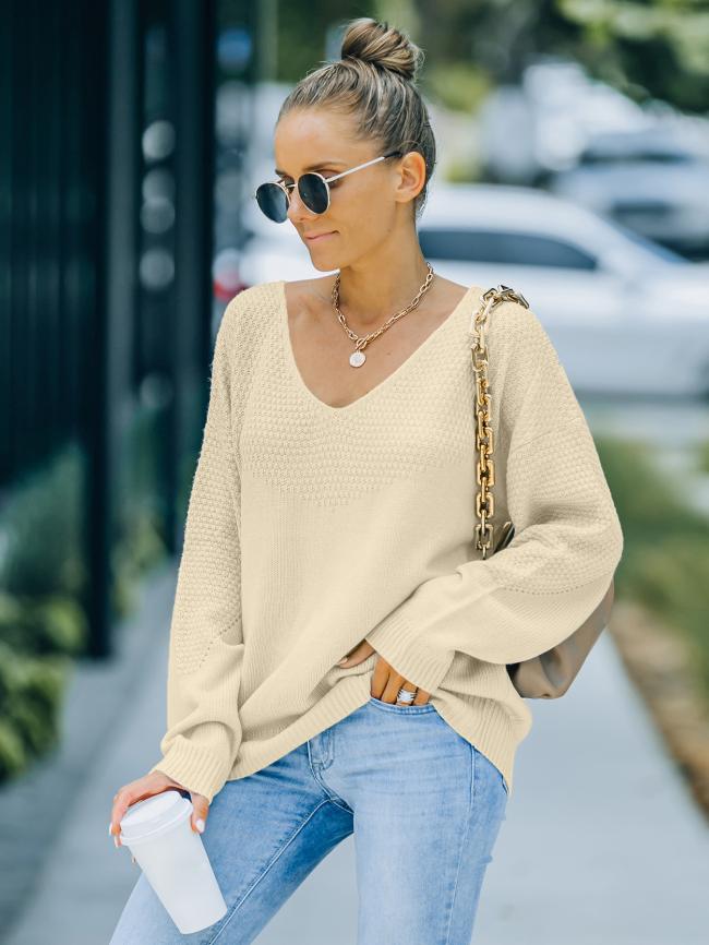 Solid V-neck Drop Shoulder Sweater