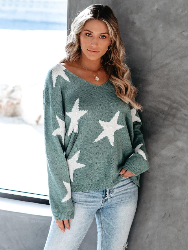 Star Print Pullover V-neck Sweater