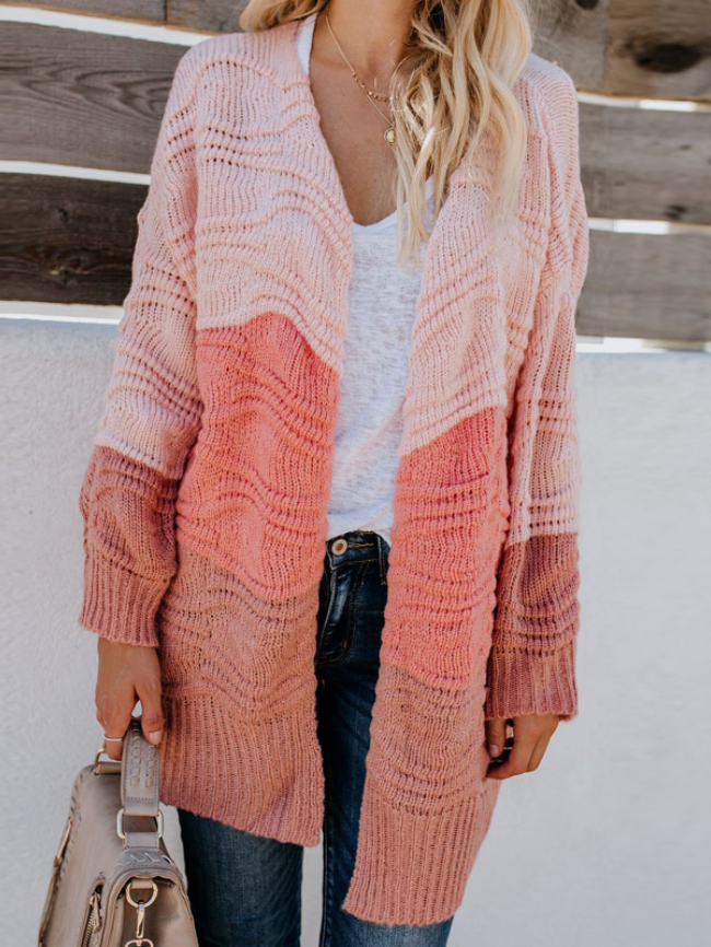 Stitching Open Front Knitted Cardigan