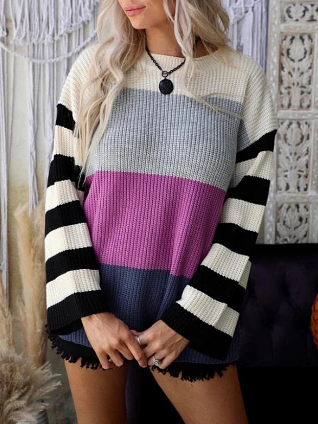 Striped Contrast Crew Neck Sweater