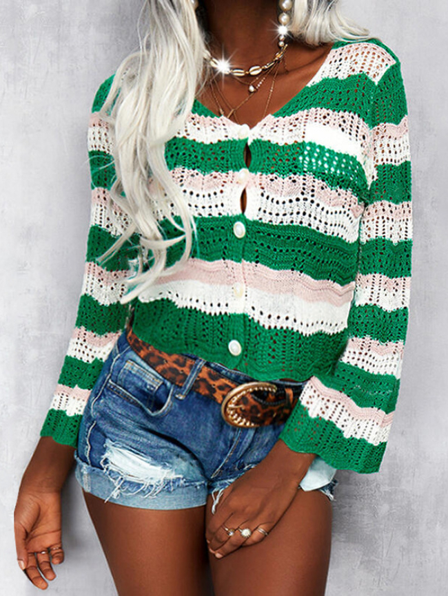 Striped Hollow Single-breasted Knitted Cardigan