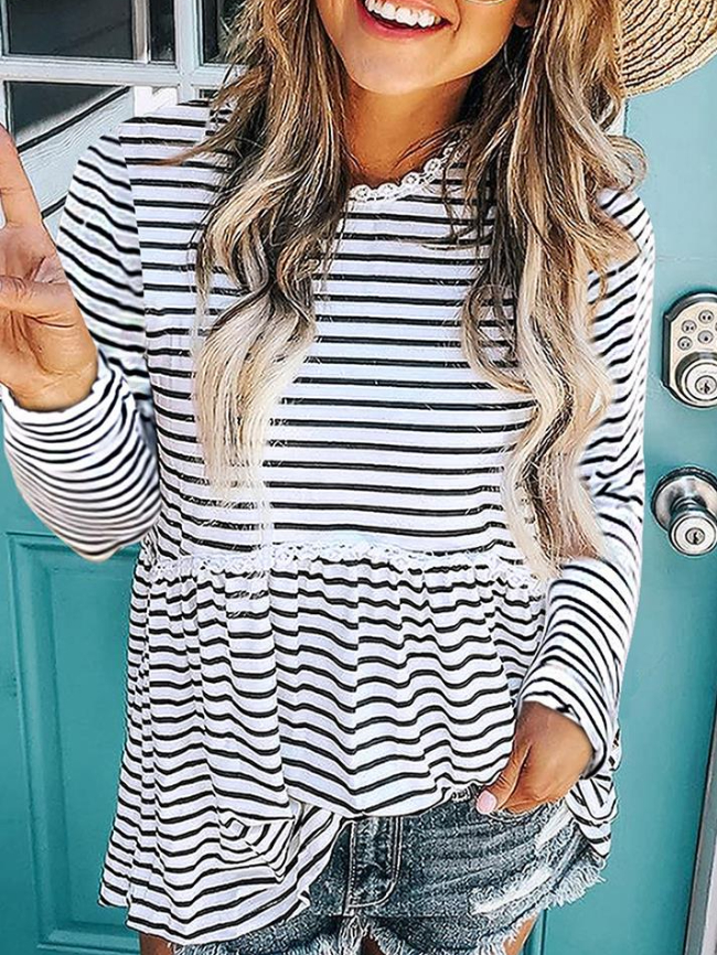 Striped Lace Stitching round Long Sleeve Tee