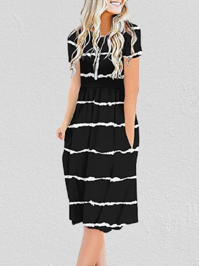 Striped Print Pocket Side Dress