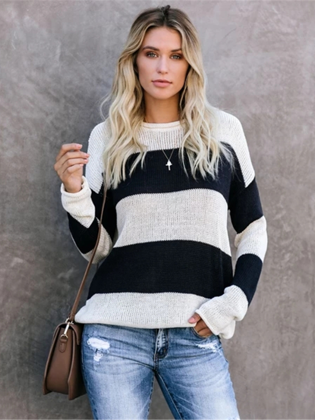Striped Pullover Knitted Sweater
