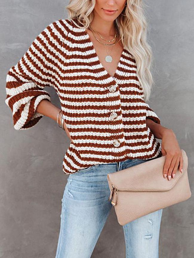Striped Single-breasted V-neck Cardigan