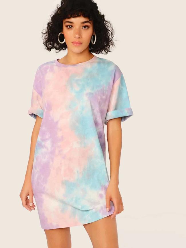Tie-dye Crew Neck T-shirt Dress