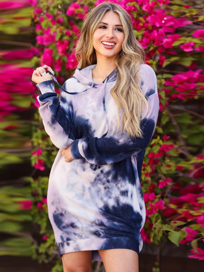 Tie-dye Printed Hooded Sweatshirt Dress