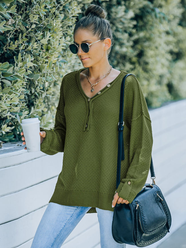V-neck Button Slits Side Knitted Sweater