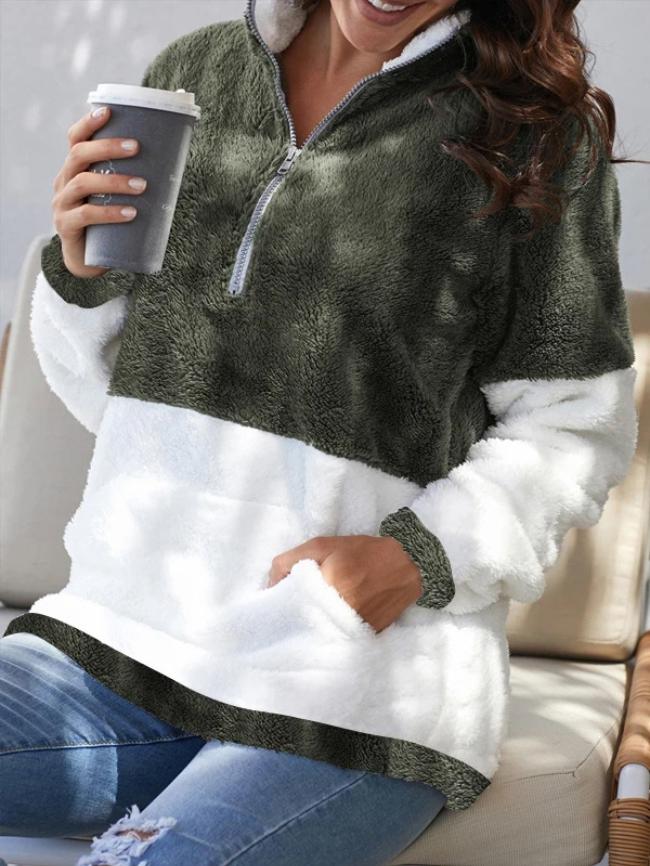 Zip Neck Oversize Fluffy Fleece Pullover