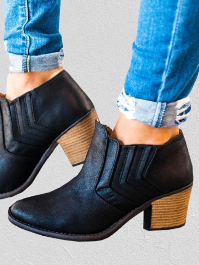 Block Heel Slip-On Chelsea Ankle Boots
